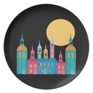 Fantastic City of Towers Under the Moon Plate