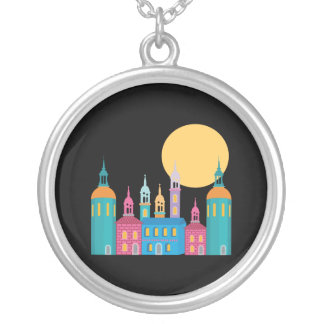 Fantastic City of Towers Under the Moon Silver Plated Necklace