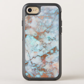 Fantastic Light Blue And Brown Marble Stone OtterBox Symmetry iPhone 8/7 Case
