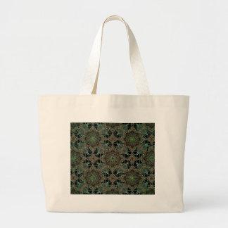 fantastic mandala design green canvas bags