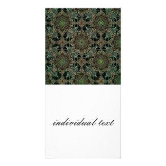 fantastic mandala design,green custom photo card