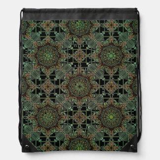 fantastic mandala design green drawstring bag