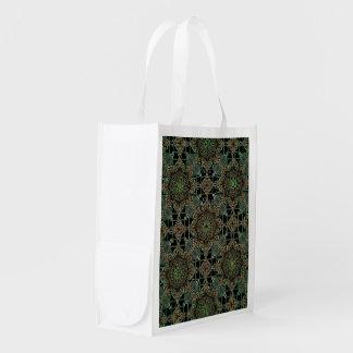 fantastic mandala design green reusable grocery bag