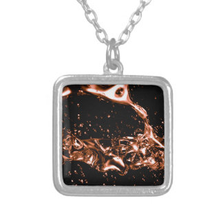 Fantastic Melted Copper Design Silver Plated Necklace