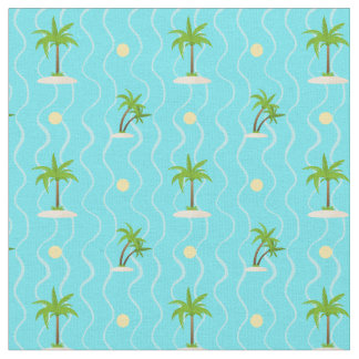 Fantastic palm trees wavy lines pattern fabric
