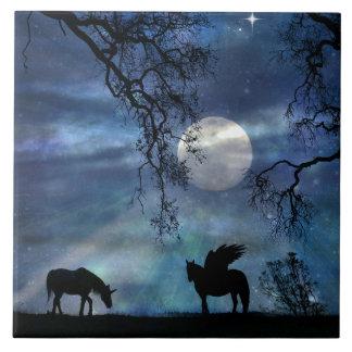 Fantastic Unicorn and Pegasus Art Tile