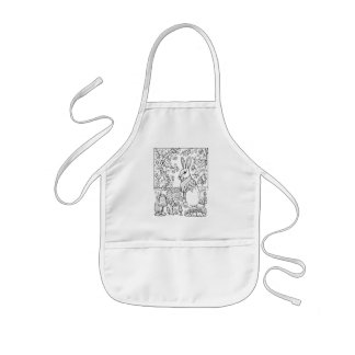 Fantastical Forest Rabbit Coloring Kids Apron