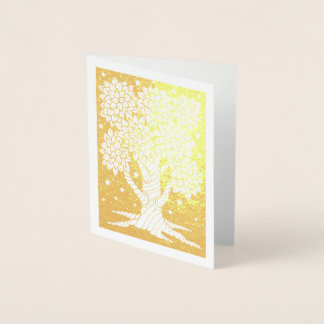 Fantastical Forest Star Night Tree Foil Card