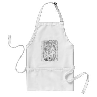 Fantastical Forest Trees Unicorn Coloring Standard Apron