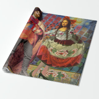 Fantastical Funny Mona Lisa Couple Whimsical Wrapping Paper