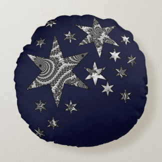 Fantasy 3 D Stars Round Cushion