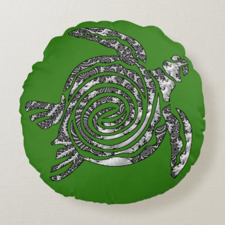 Fantasy 3 D Turtle Round Cushion