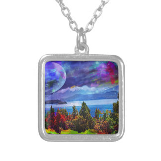 Fantasy and imagination live together silver plated necklace