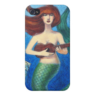 Fantasy Art iphone 4 case, Cute Mermaid & Ukulele iPhone 4/4S Case