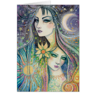 Fantasy Art Night and Day Celestial Abstract Art Card