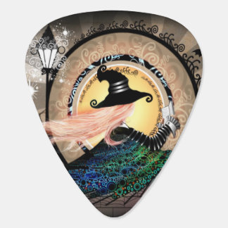 Fantasy art nouveau witch guitar pick
