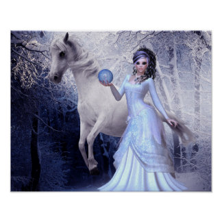 Fantasy Art Princess Poster White Stallion Forest