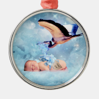 Fantasy baby and stork christmas christmas ornaments