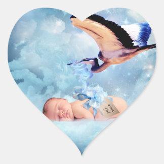 Fantasy baby and stork heart sticker