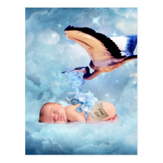 Fantasy baby and stork postcard