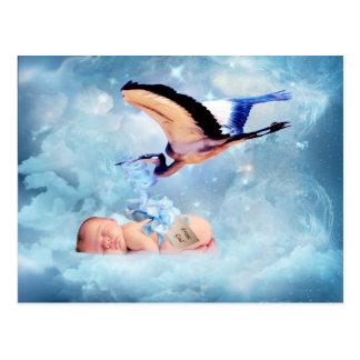 Fantasy baby and stork postcard