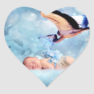 Fantasy baby and stork stickers