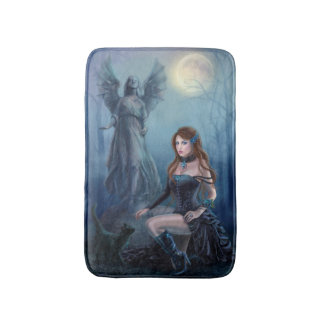 Fantasy beautiful woman with black cat Bath Mat Bath Mats