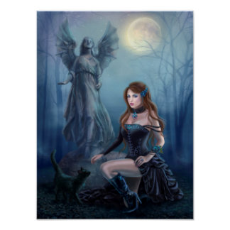 Fantasy beautiful woman  with  black cat poster