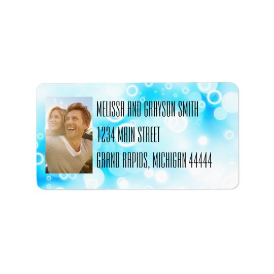 Fantasy Blue Bubbles - Address Labels