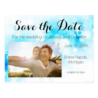 Fantasy Blue Bubbles - Save the Date Post Card