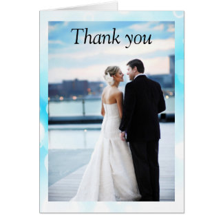 Fantasy Blue Bubbles - Thank You Card