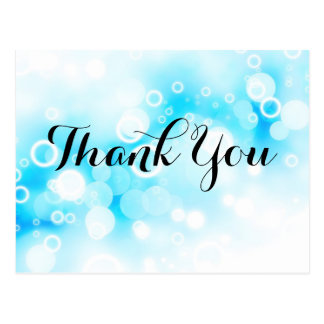 Fantasy Blue Bubbles - Thank You Postcard