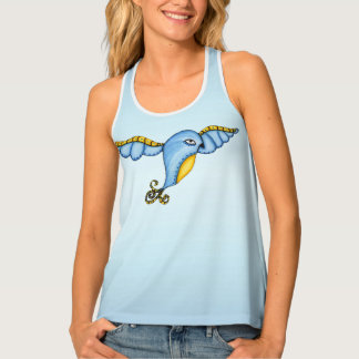 Fantasy Bluebird in Flight Yellow Fancy Tail Singlet