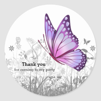 Fantasy Butterfly * choose background color Classic Round Sticker