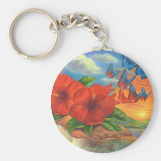 Fantasy Butterfly Landscape Painting - Multi Basic Round Button Key Ring