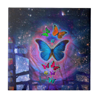 Fantasy Butterfly Small Square Tile
