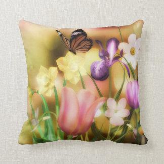 Fantasy butterfly spring garden pillow