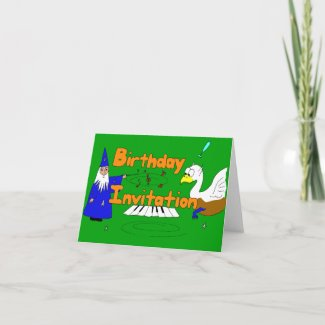 Fantasy Cartoon Birthday Invitation with wizard