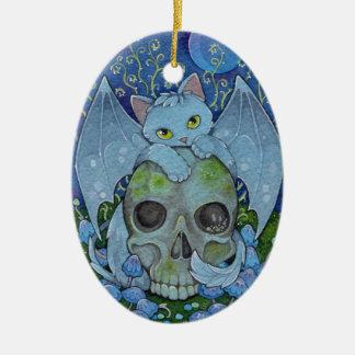 Fantasy Cats Oracle Affirmation - Death Ceramic Ornament