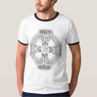 Fantasy Celtic Cross Irish blk/wht t-shirt