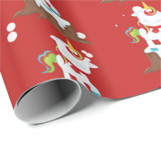 Fantasy Christmas unicorn tiled party wrap Wrapping Paper