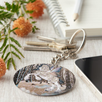 Fantasy Clydesdale Horse Fairy Basic Round Button Key Ring