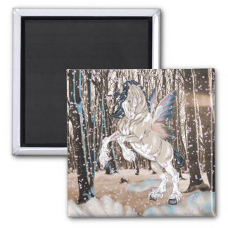 Fantasy Clydesdale Horse Fairy Square Magnet