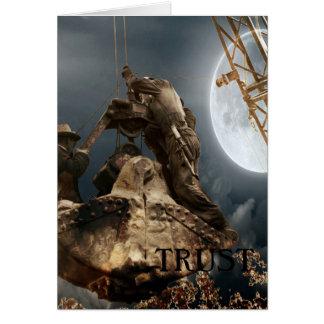 Fantasy  Crane Operator Men in Bucket Trust Night Card