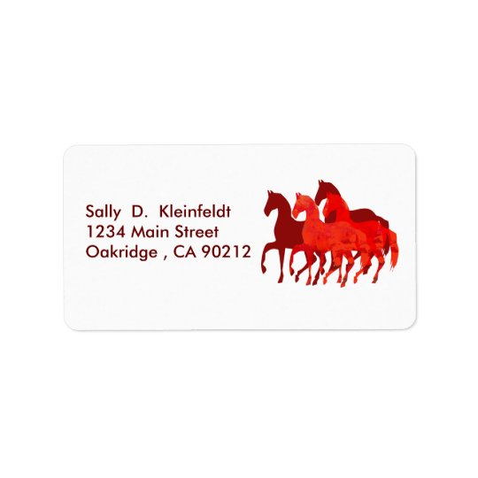 Fantasy Cute Red Horses Fantasy Address Label