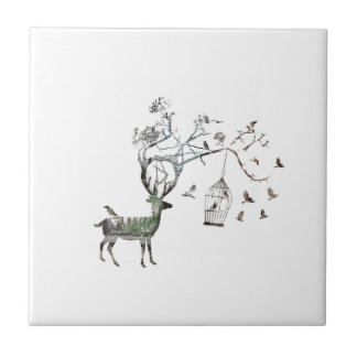 Fantasy Deer with Birds Small Square Tile