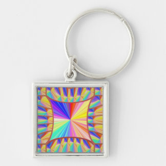 Fantasy Digital Graphic Sparkle Art Collection Silver-Colored Square Key Ring