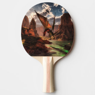 Fantasy dragon in the mountains ping pong paddle
