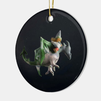 Fantasy dragon rider Christmas ornament