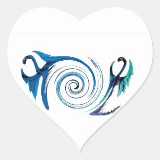Fantasy Dragon Swirl Heart Sticker